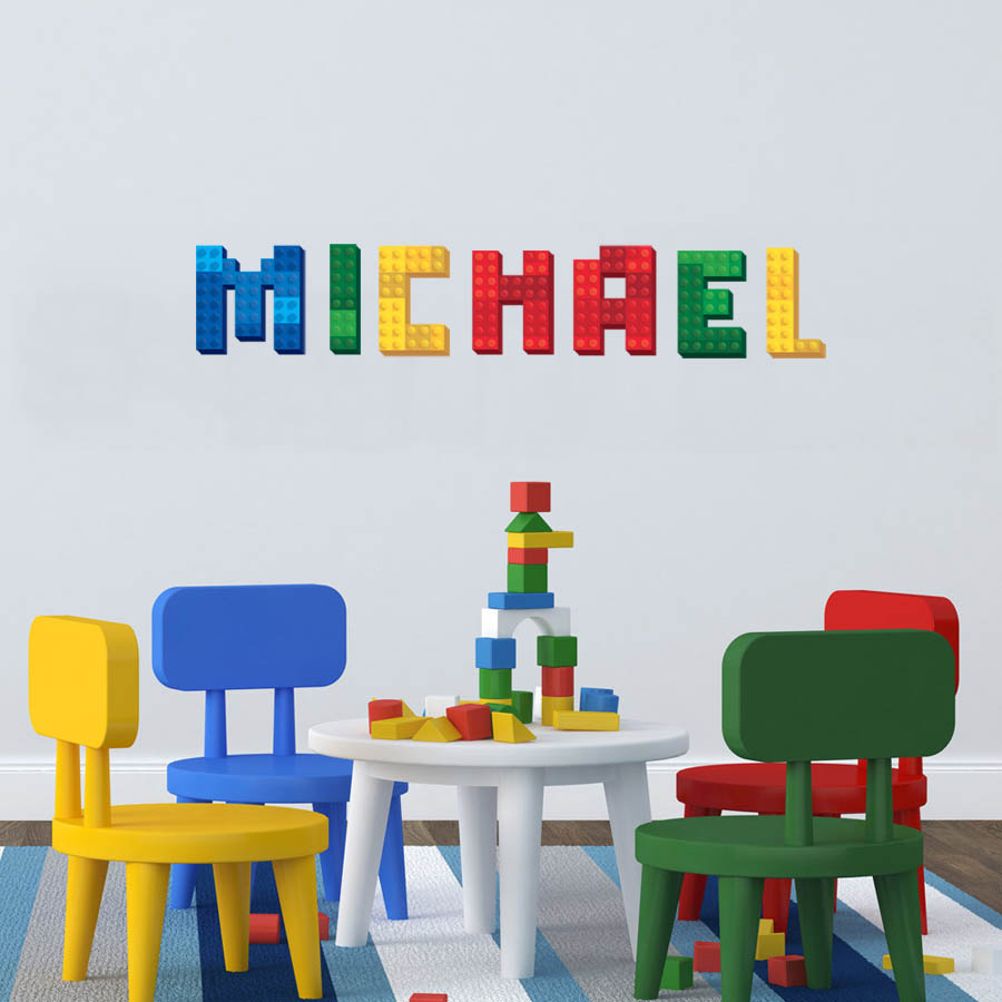 Lego block name decal personalized custom name wall for Custom wall mural decals
