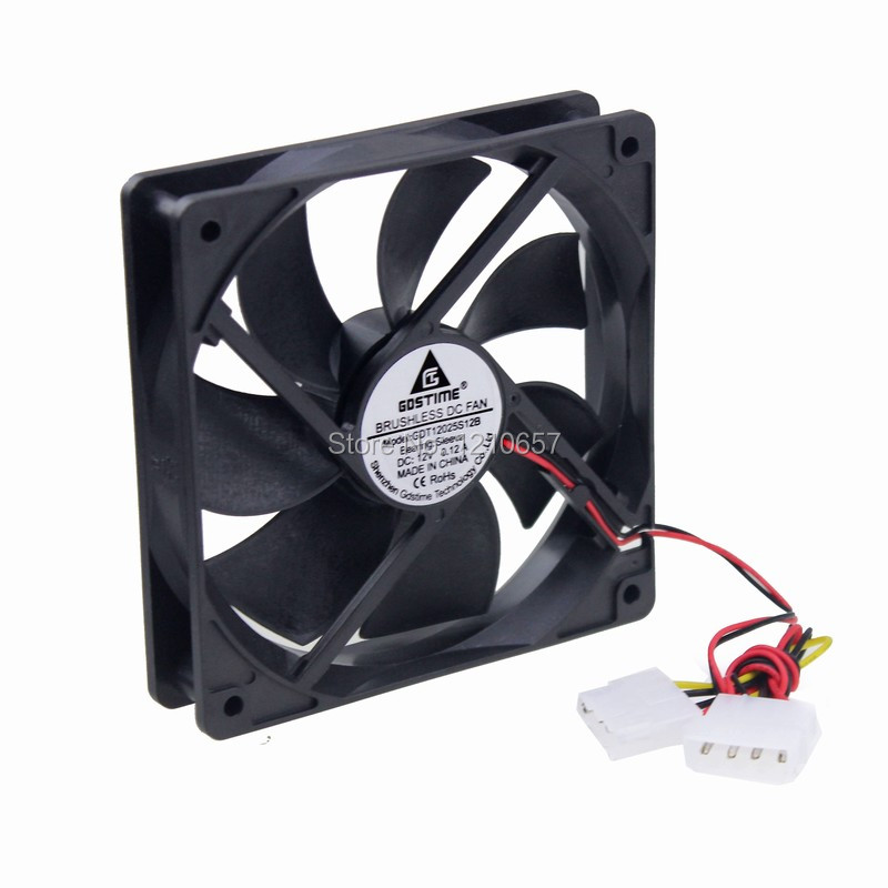 2 PCS Gdstime DC 12V 4P Molex 120mm 120x25mm Computer Case Brushless Cooling Exhaust Fan gdstime 10 pcs dc 12v 14025 pc case cooling fan 140mm x 25mm 14cm 2 wire 2pin connector computer 140x140x25mm