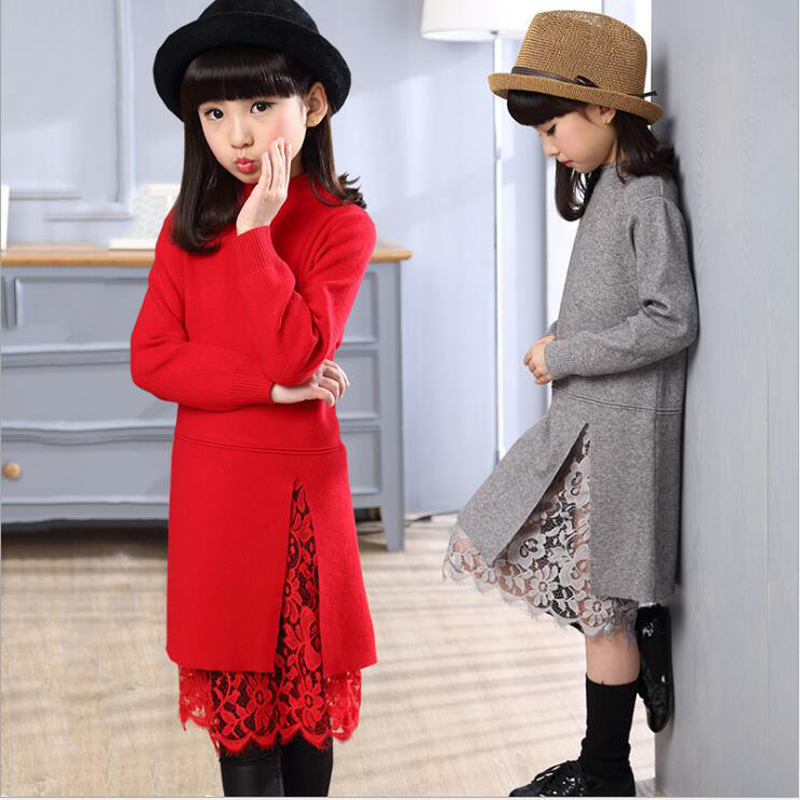 2018 Party Dresses Girl Kids Winter Vestidos Clothes Big Girls Princess Dress Children Fashion Lace Warm Sweater Evening Dress