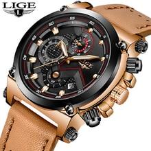 LIGE relojes de cuarzo para hombre, reloj de pulsera deportivo Masculino, resistente al agua, Cuero militar informal