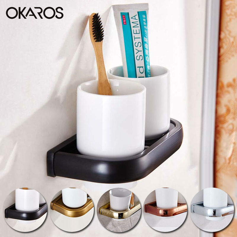 OKAROS Wall Mounted Bathroom Double Cup Toothbrush Tumbler Holder With Ceramic Cup Brass Gold Antique Chrome Accessories leyden new brass oil rubbed bronze double toothbrush tumbler holder wall mounted toothbrush holder with cup bathroom accessories