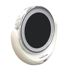 Image 2 - Miroir de maquillage grossissant 5X Double face avec 10 LED ampoules lumineuses, pour les soins cosmétiques et de la peau, Chrome poli