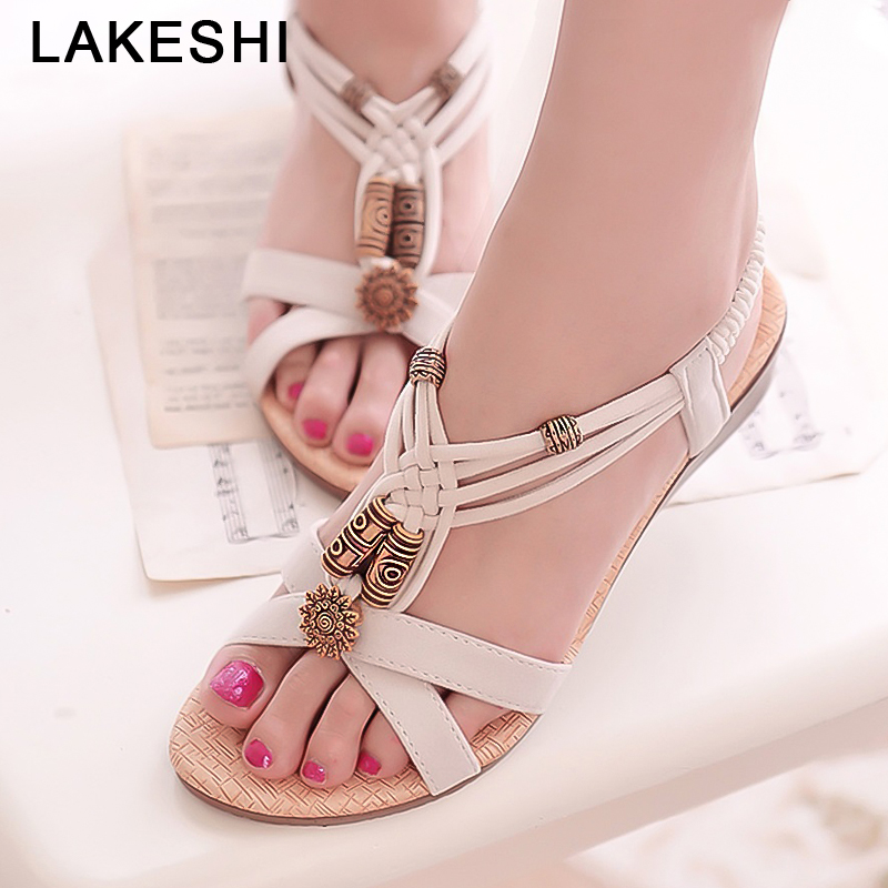 LAKESHI Women Sandals Bohemian Women Shoes Beaded Summer Flat Shoes Elastic Band Ladies Sandals 2018 Causal Flat Sandals цена и фото