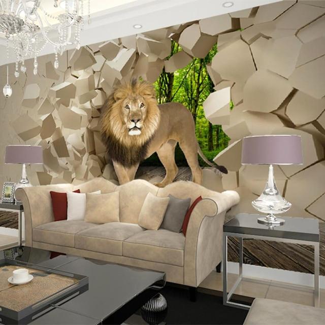 Sob Encomenda Da Foto Papel De Parede 3d Estereoscópico Leão