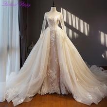 Glamorous Lace Appliques Scoop Neck 2 in 1 Wedding Dresses Long Sleeves Detachable Train Vestido de novia Beaded Bridal Gowns