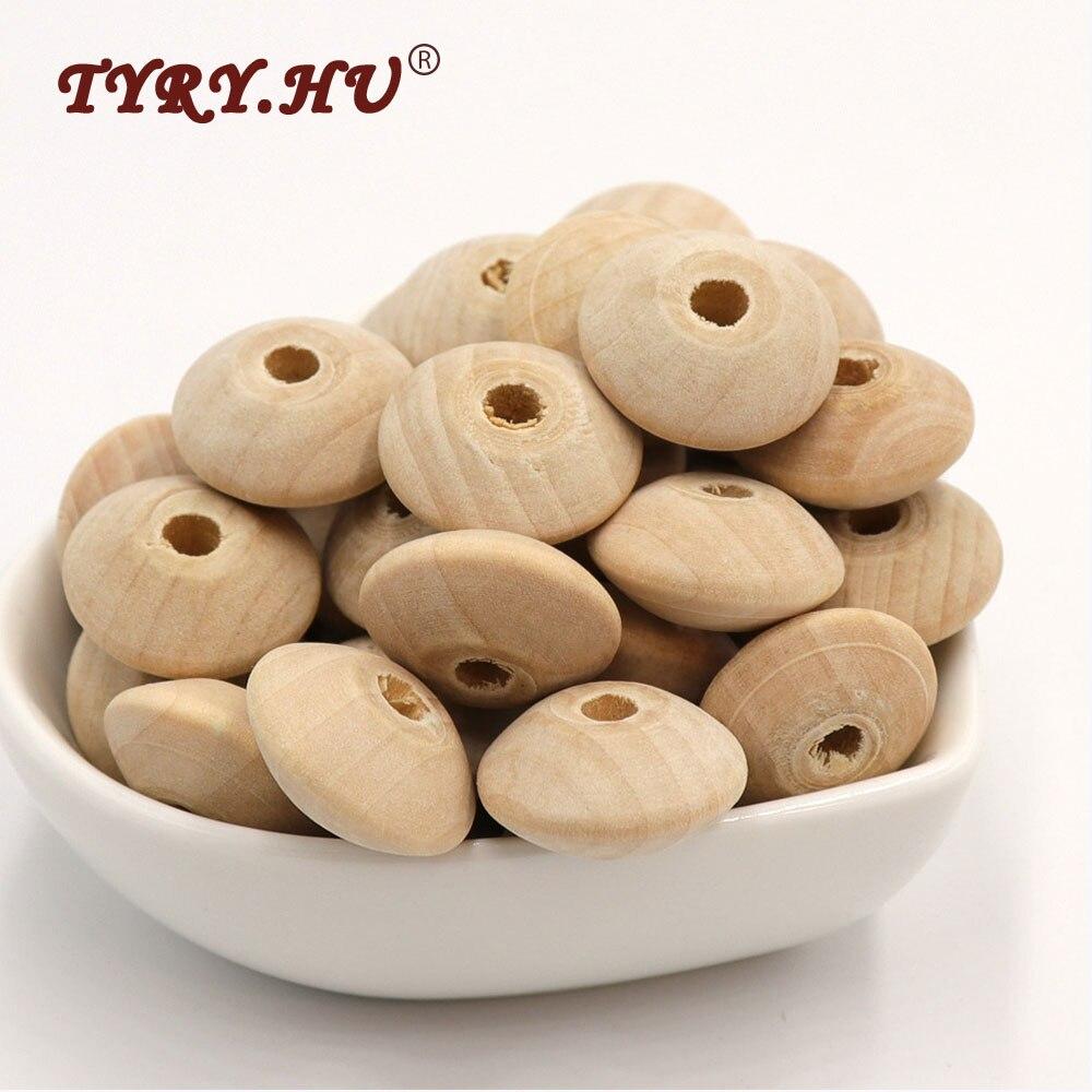 TYRY.HU Original 20pcs 18mm Wood Lenses Beads Pacifier Clips Lentile Teething Bead DIY Baby Teether Abacus Chewing Wooden Beads