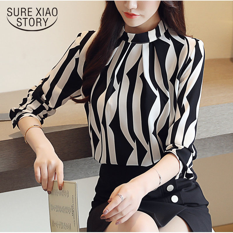 New Arrived Fashion Women Blouse Long Sleeved Printed Women Top  Stand Collar Blouses Slim Fit Office Lady Blusa 0941 40 #1