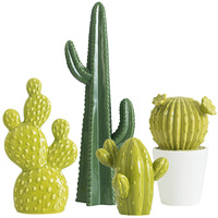 Creative Nordic Ceramic Simulation Cactus Ornaments Office Computer Desktop Green Potted Decor Home Porch Living Room Decor Gift