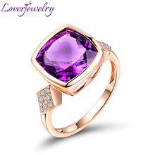 Solid 14K Rose Gold Jewelry  Cushion Cut  Natural Purple Amethyst Ring Lovely Gift For Girl Wholesale