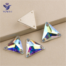 Top 3270 Triangle 16mm 22mm Crystal AB Sew On Stone Glass Rhinestones For Clothes Sewing