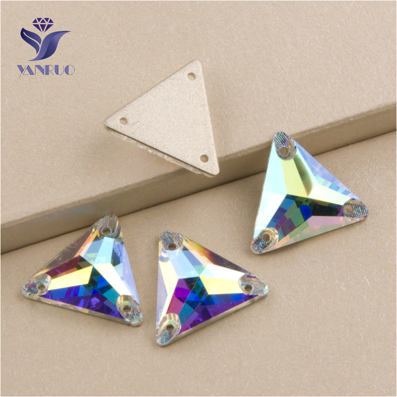 Top 3270 Triangle 16mm 22mm Crystal AB Sew On Stone Glass <font><b>Rhinestones</b></font> <font><b>Application</b></font> For Hair Clothes Sewing on Clothing image