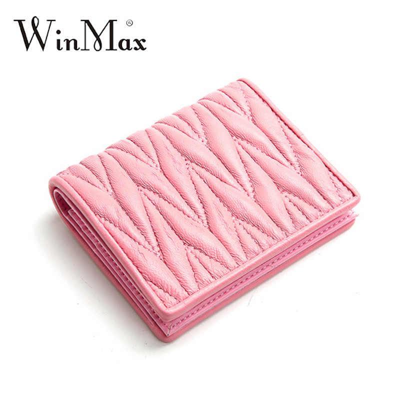 Winmax известный дизайн женский короткий кошелек из мягкой натуральной овечьей кожи Модный Дамский кошелек для монет кошелек для девочек кожаный держатель для карт