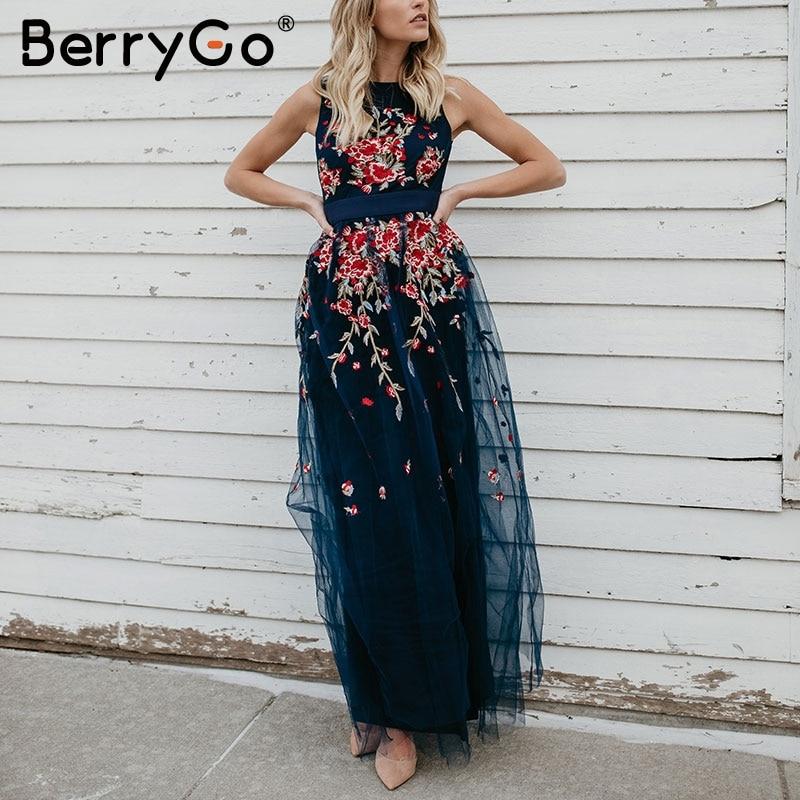BerryGo Elegant mesh overlay long dress women Stretch sleeveless vest maxi dress summer Embroidery sexy dress robe femme 2018