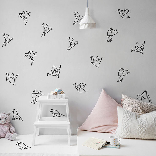 Geometric Origami Birds Wall Decals