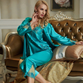 XIFENNI Marca Mulheres Pijama De Cetim De Seda Rendas Bordado Sleepwear Três-Peça Pijama Conjuntos de Pijama de Seda de Imitação Fêmea 1533