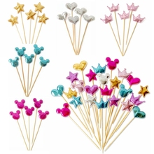 5 pcs/lot christmas lovely heart star crown cake topper for birthday cupcake flag baby shower party wedding decoration supplies