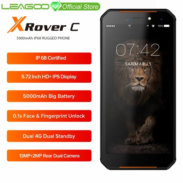 "LEAGOO XRover C IP68 NFC Smartphone 5.72"" IPS Quad Core 2GB 16GB 13MP Dual Cams 5000mAh Face Fingerprint Unlock 4G Mobile Phone"