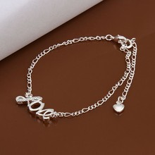 2016 Hot Sale Gift Anklet Silver Color silver plated fashion jewelry anklet for women jewelry/iTYWUNXDX