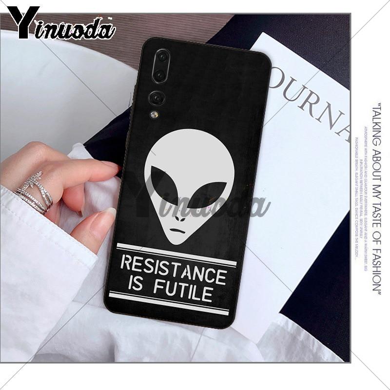 Yinuoda Alien Believe UFO ET cute Emoji TPU black Phone Cover for Huawei P10 plus 20 pro P20 lite mate9 10 lite honor 10 view10