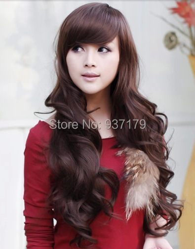 Long Synthetic Bangs Style Celebrity Long Vivid Wigs Ewha Long Curly