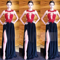 fnoexw fashion red black evening dress with slit 2016 new appliques lace long beaded women formal party dress robe de soiree
