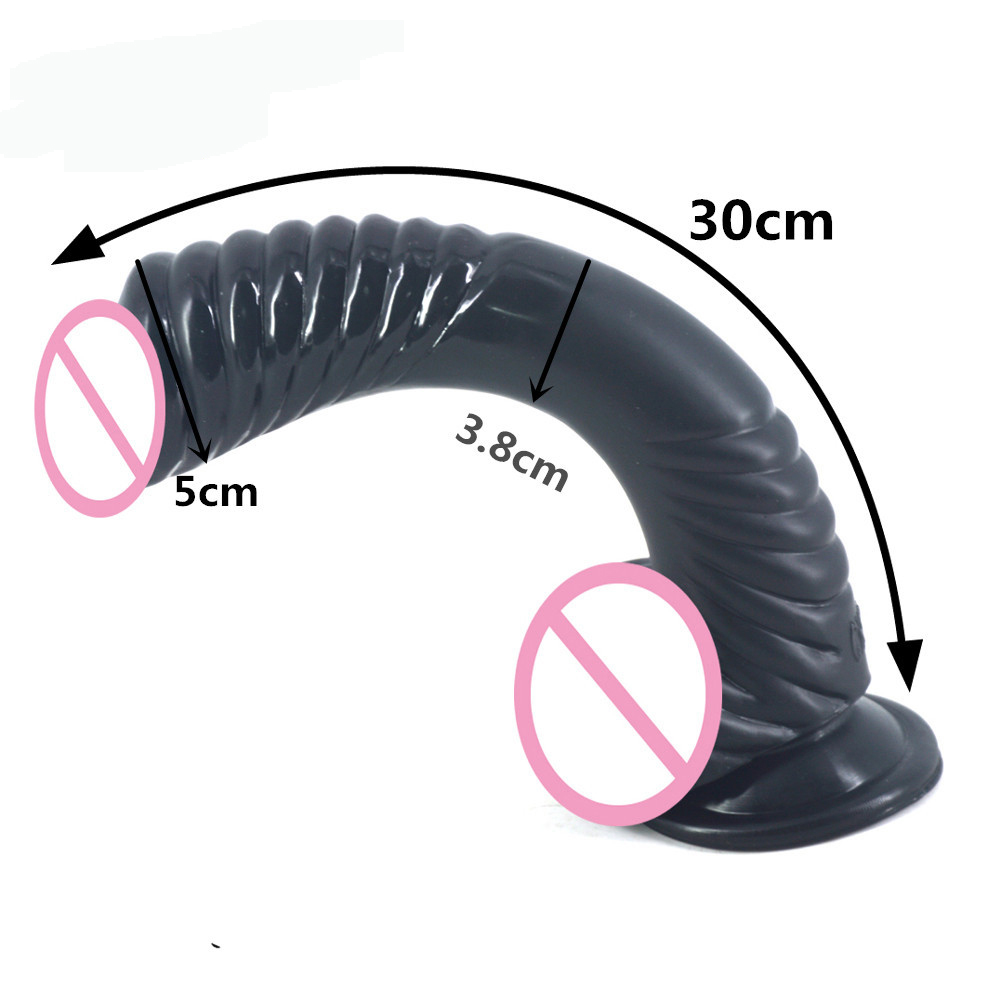 FAAK New Curved Dildo Animal Snake Dildo Suction Cup Screw Thread Design Stimulate Fake Penis Sex Toys For Women Erotic Product