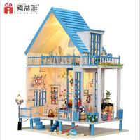 Handmade Toy Dream House Model Kit Assemble Miniature Dollhouse Villa DIY Doll House LED Home Girl