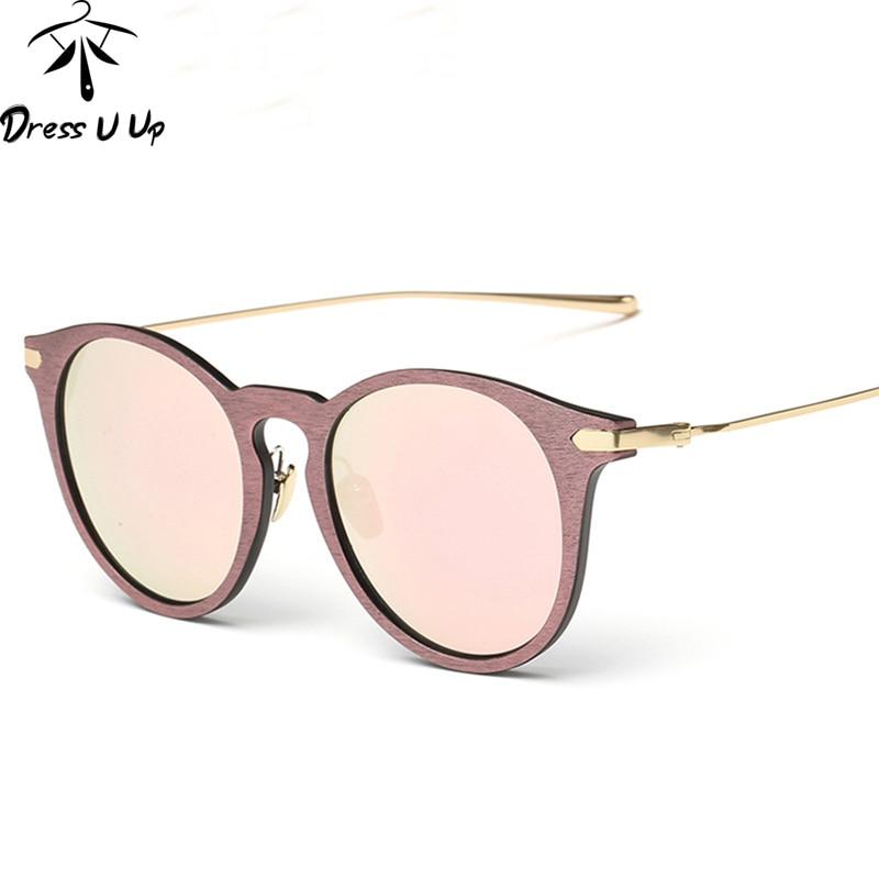 DRESSUUP 2017 Retro Sunglasses Women Brand Designer Vintage Wood Grain Alloy Frame Sun Glasses Oculos De Sol Feminino Gafas