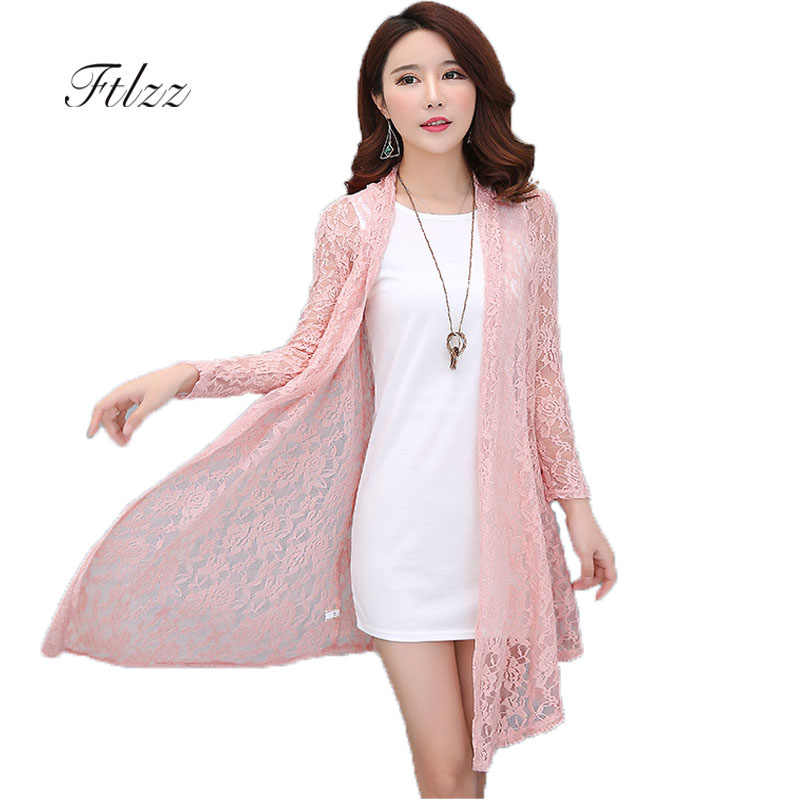 a623d674e9a0 Women Medium Long Cardigan 2019 New Summer Thin Lace Jacket Outerwear  Ladies Plus Size Slim Casual