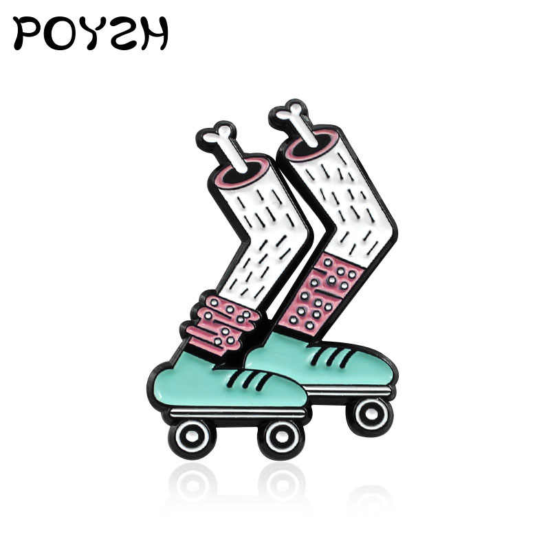 Skull leg bone Brooches Cartoon Skate Foot Bone Sports Skateboard Shoes Enamel Pins Socks skates cute styling badge gifts kids