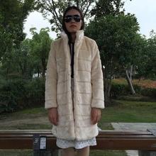 FF Brand Long Mink Fur Coat Winter Women Faux Mink Fur Coat Jacket Womens Long Sleeve Stand Collar Faux Fur Coat Luxury Fake Fur