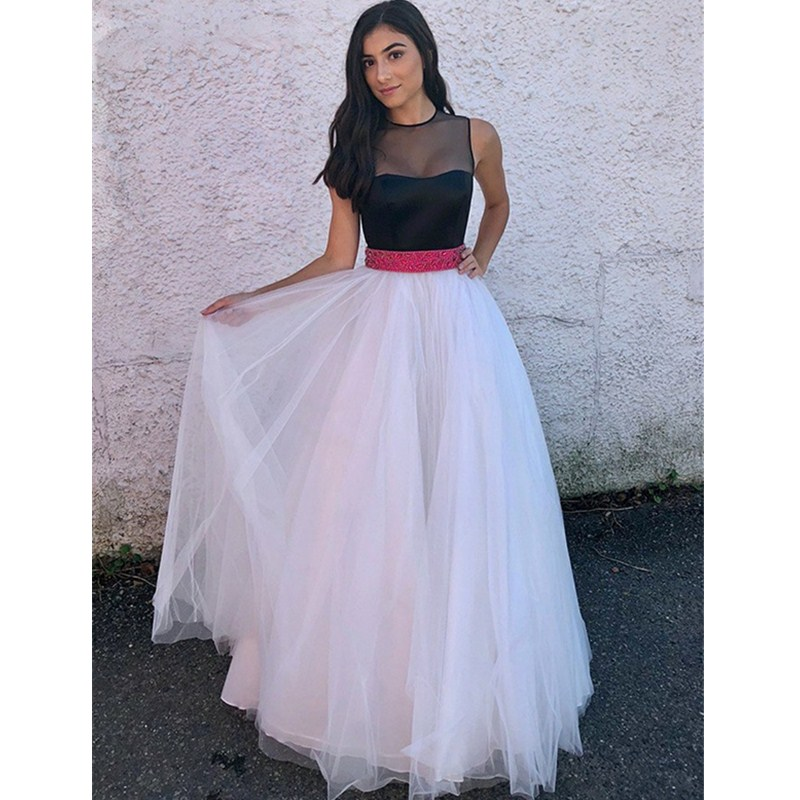 Sheer Scoop A-line   Prom     Dresses   2019 Two Colors Tone Long   Dress   Evening Wear For Women With Beading Crystal Robe de soiree