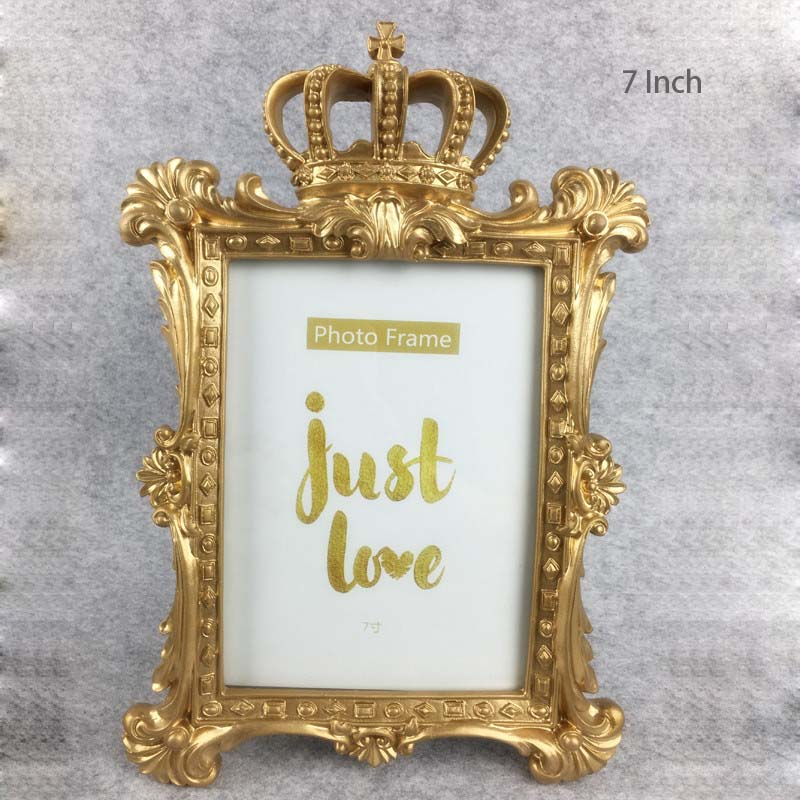 Europea de oro corona foto marco creativo resina escritorio Marco de ...