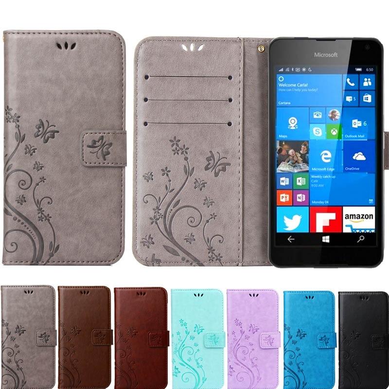 High quality Butterfly Flip Leather Cover Wallet Soft <font><b>Case</b></font> for Nokia <font><b>Microsoft</b></font> Lumia 630 535 830 730 650 530 550 640 640XL <font><b>950</b></font>