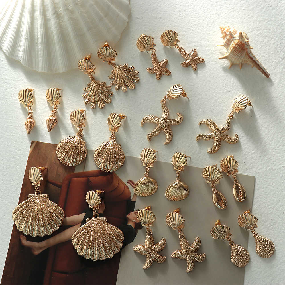 1Pair 2019 Summer Retro Fashion Shell Earrings Women Gold Color Geometric Irregular Starfish Conch Statement Jewelry Accessories