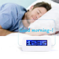 2019 hot sales LED Light Fluorescent Message Board Digital USB HUB Wall Alarm Clock Gift