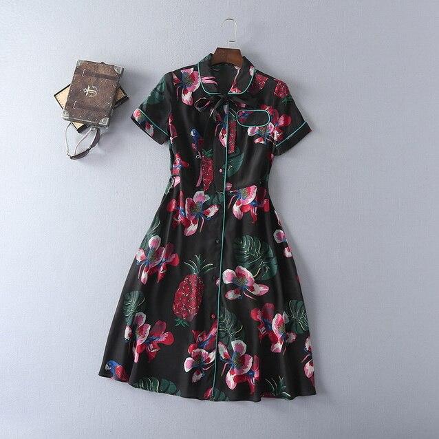 Buy Cheap 100%Silk Dress New Style Summer Vestido 2017 Women Peter Pan Collar Tropical Fruit Prints Short Sleeve Dress Casual Homecoming