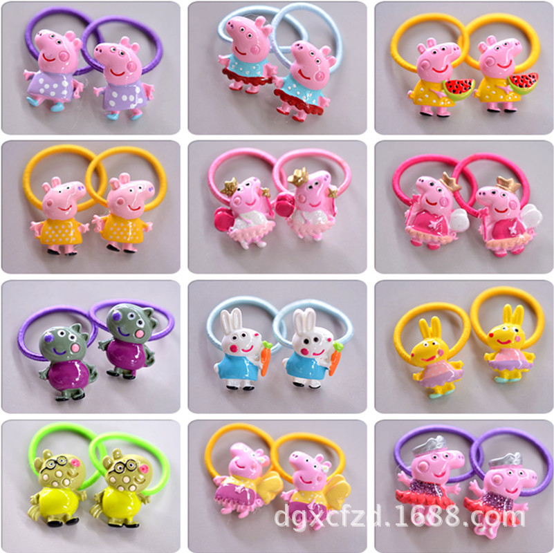 New Painted Resin Cartoon Pig Children Hair Ropes Elastic Hair Band Girls Accessories Kids Headdress Baby Headwear Hair Ropes 2015 fashion elastic hair bands for women candy color baby girl kids headbands hair ropes headwear hair accessories 20 colors