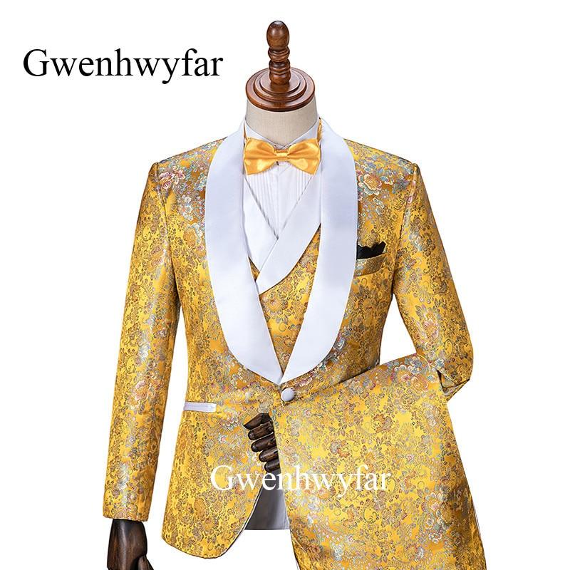 1915622f113946 Gwenhwyfar 2019 New Luxury Flower Gold Men Suit Groom Wedding Suits for Men  Slim Fit 3