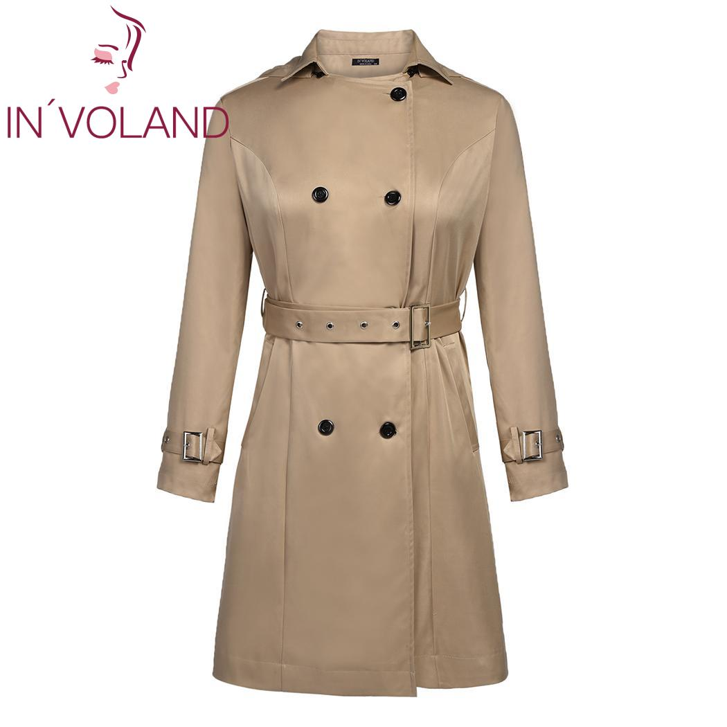 IN'VOLAND Fashion Autumn Women Outwear Breasted Casual Female Trench Coat With Double Belt Warm Autumn Outwear Hooded Coats