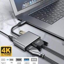 4 в 1 USB C HDMI Тип c к HDMI 4 к адаптер VGA USB3.0 аудио видео конвертер PD 87 Вт быстрое зарядное устройство для Macbook pro samsung s9 s10