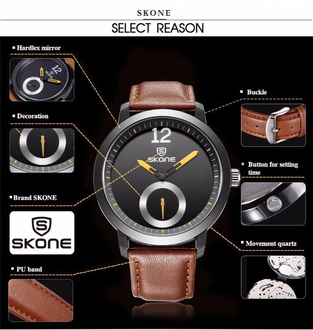 SKONE relojes hombres marca de lujo hombres reloj relogio relojes de - Relojes para hombres - foto 5