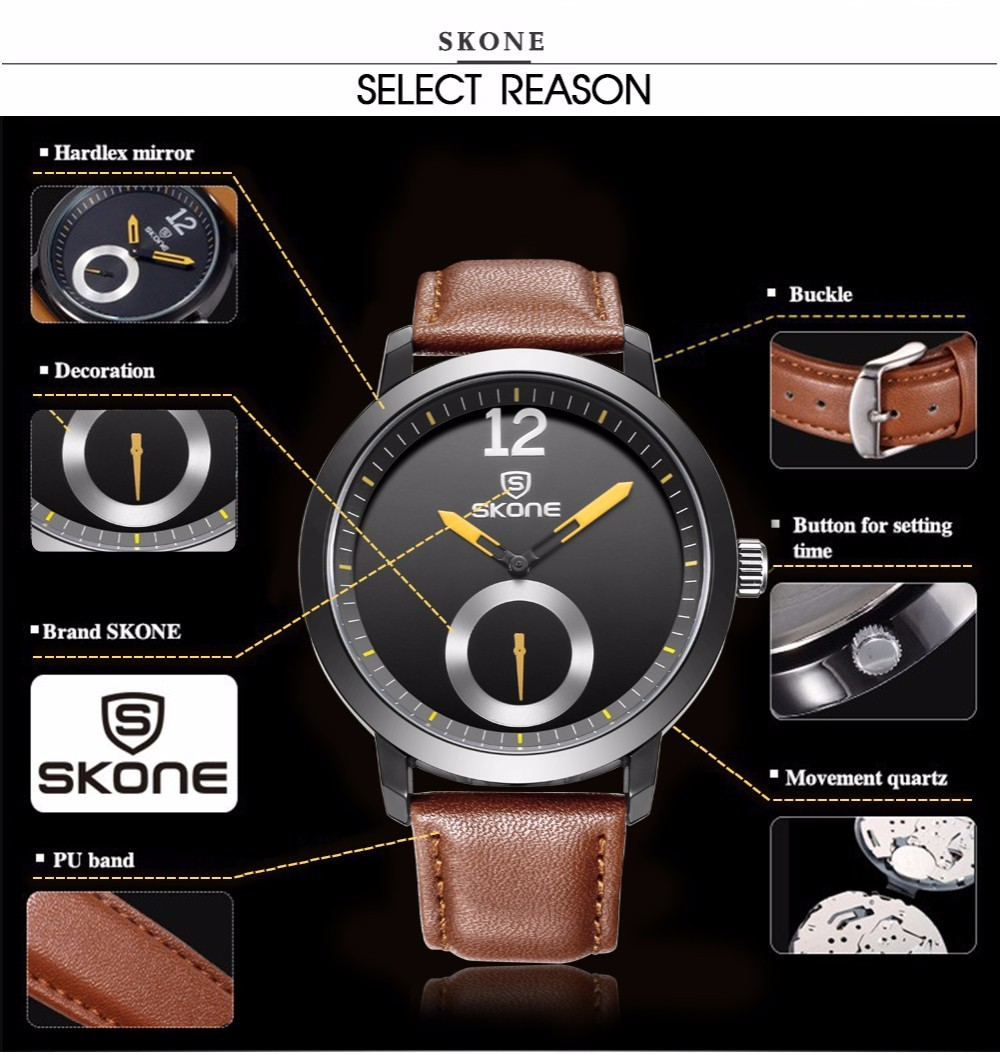 SKONE ρολόγια άνδρες πολυτελή μάρκα - Ανδρικά ρολόγια - Φωτογραφία 5
