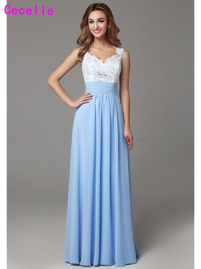 Brautjungfer kleid lang blau