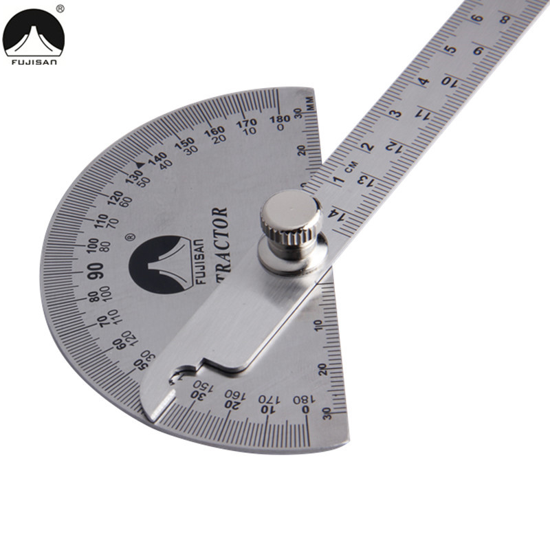 FUJISAN 0-180 Degree Angle Ruler Stainless Steel Round Head Rotary Protractor 145mm Adjustable Angle Finder Measure Tools kapro high precision movable angle woodworking tools universal horizontal line t shaped angle ruler a protractor
