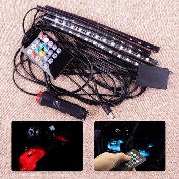 CITALL 12 v DC LED רכב SUV פנים רצפת אווירה אור המוזיקה בקרה צבע דקור מנורת אלחוטי מרחוק + מצית