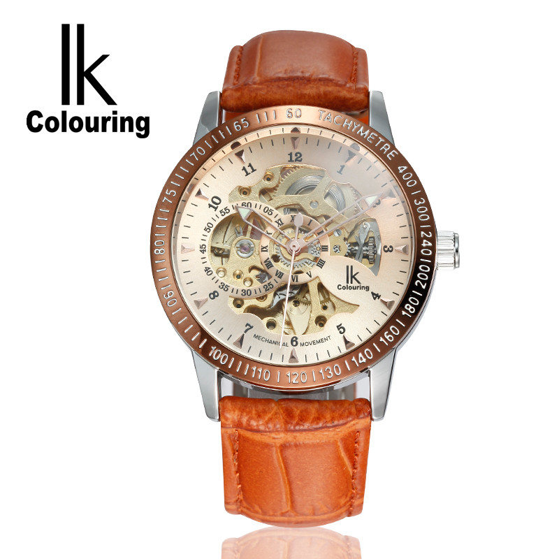цена на IK Coloring Original Men's Skeleton Dial Auto Mechanical Orange PU Leather Strap Watches Box Gift Free Ship