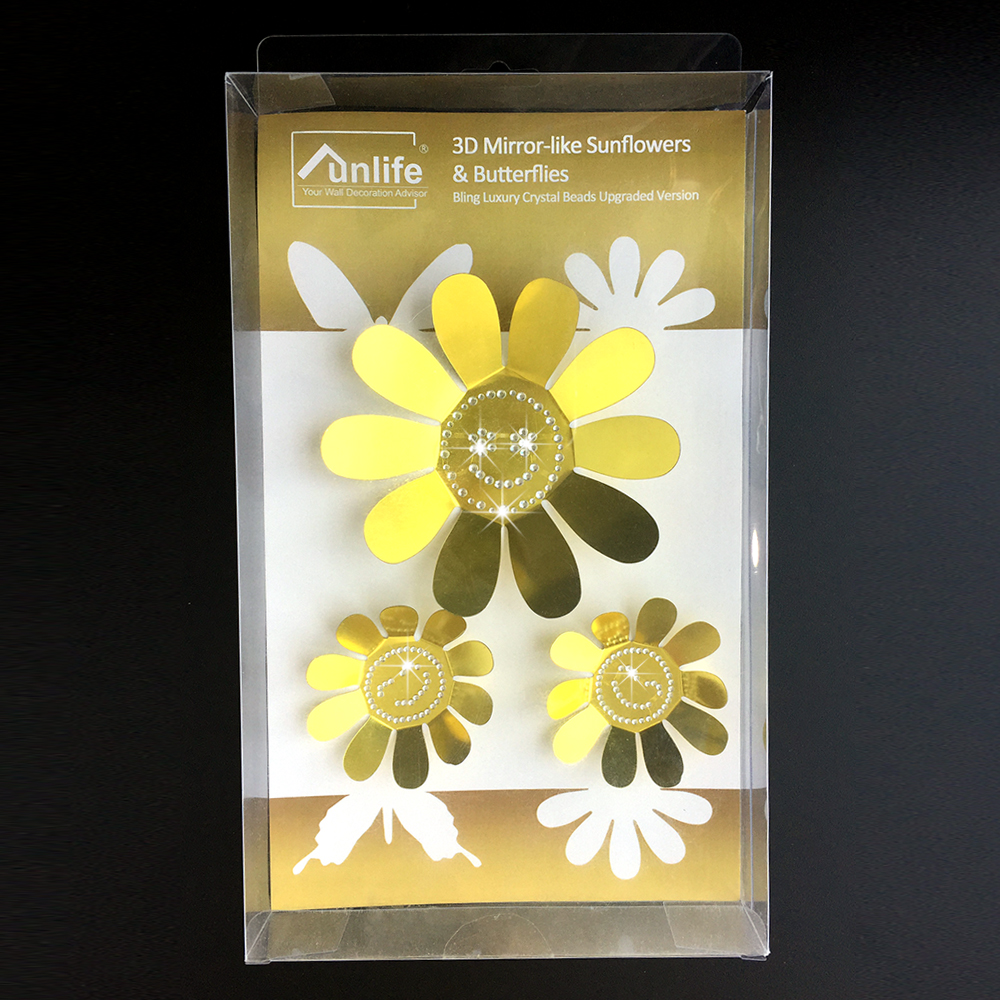 Mirror Like Crystal 3D Sunflowers Wall Stickers Exclusive 3 Colors ...