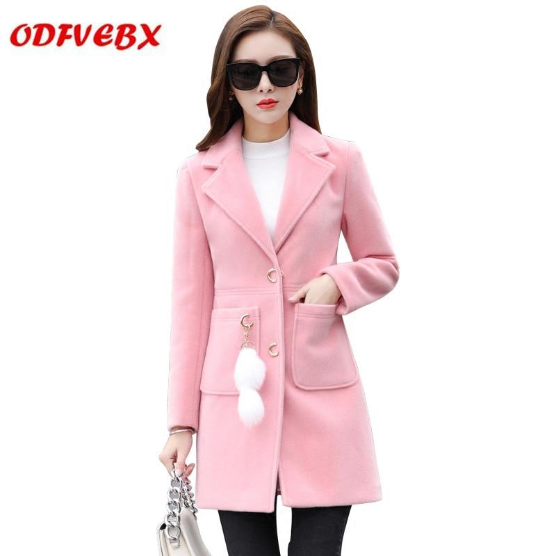 Des Corps Mince white Manteau D'hiver Et Populaire Laine Vestes Femmes pink khaki Nouveau Femelle Vêtements Red Long creamy blue De Automne Filles 2019 6x17Z