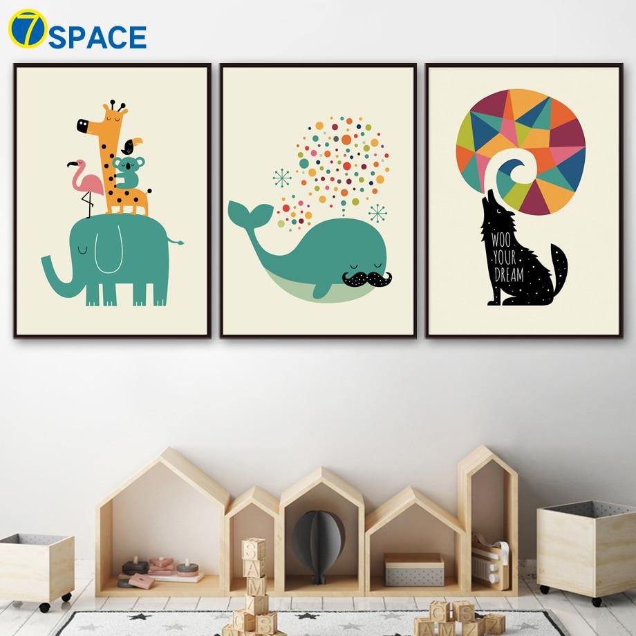 Slon Žirafa Velryba Vlk Balón Severské plakáty a tisky Nástěnné umění Obraz na plátně Zvíře Nástěnné obrázky Dětský pokoj Domácí výzdoba